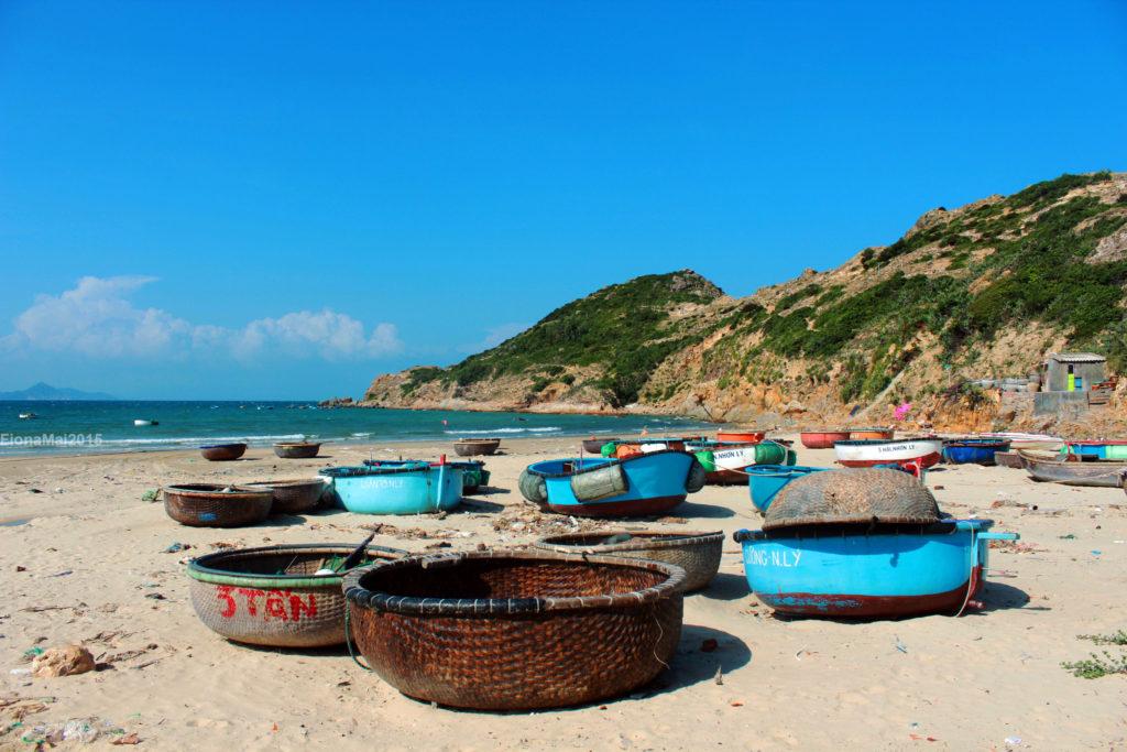 Round-shaped boats at the fisherman village - Quy Nhon Vietnam